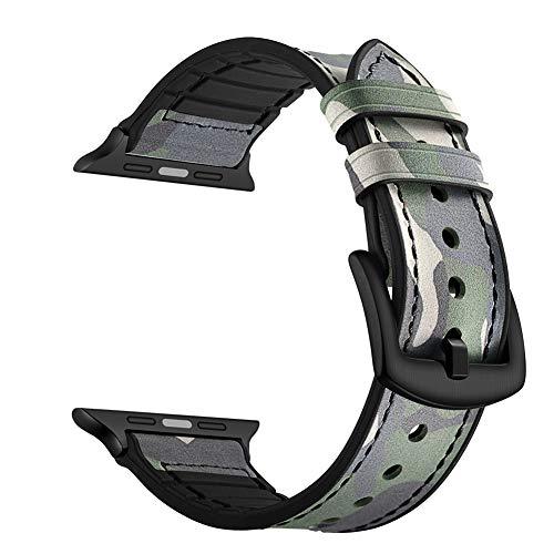 YoChYi Compatibile con Apple Watch Series 4 3 2 1 38mm 40mm 42mm 44mm Cinturini, Fibbia Nera Vera Pelle Silicone Banda di Ricambio (44mm, Camouflage Green)