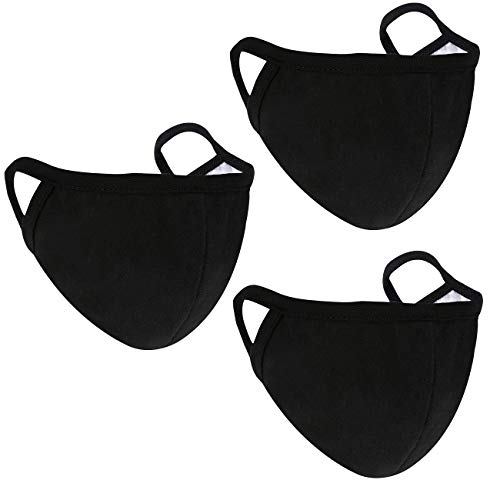 3 Pack Cotton Black Face Cover Unisex Adjustable Washable and Reusable Mouth Cover