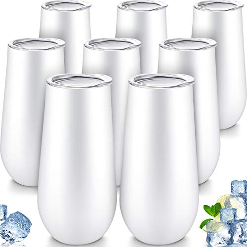 8 Packs Stemless Champagne Flutes Wine Tumbler, 6 OZ Double-insulated Wine Tumbler with Lids Unbreakable Cocktail Cups Champagne Glasses for Toasting Sipping (White)