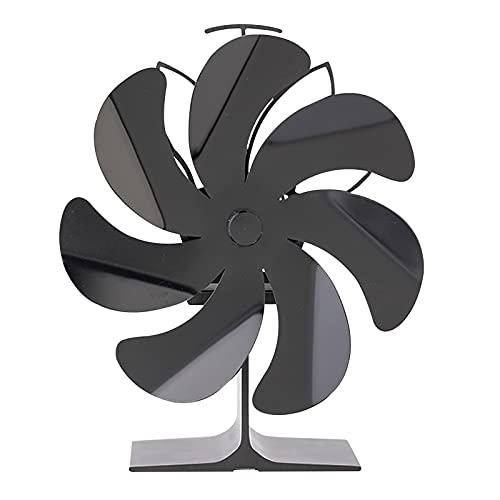 Kristy Ventilador de estufa de chimenea para estufa, estufa de fuego, estufa de gas, estufa de pellets, ajuste automático, 13CMX16CMX19CM, negro, material de aluminio