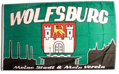 Flaggenfritze Fahne/Flagge Wolfsburg 3 - Meine Stadt Mein Verein + gratis Sticker