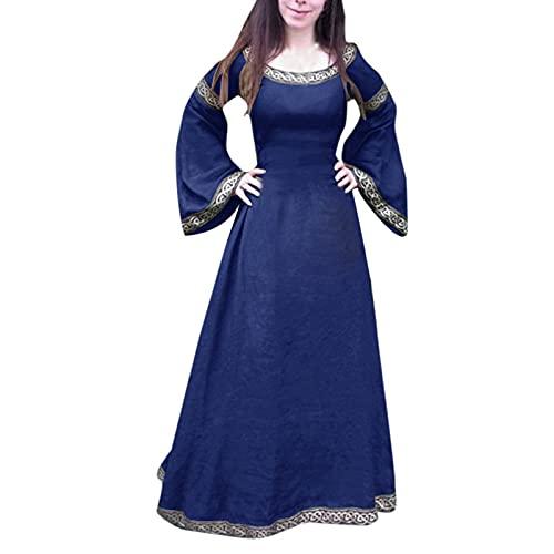 BGUK Vestido de Halloween para mujer, renacimiento, medieval, gótico, vintage, retro, para festivales, fiestas, disfraces, carnaval, Navidad, San Patricio, etc., azul, XXXXL