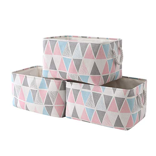 Sacyic Large Storage Baskets Bins [3-Pack] Fabric Baskets for Organizing, Empty Gift Baskets for shelves, Decorative Baskets for Closet, Cloth Baskets for Storage with Drawstring Closure