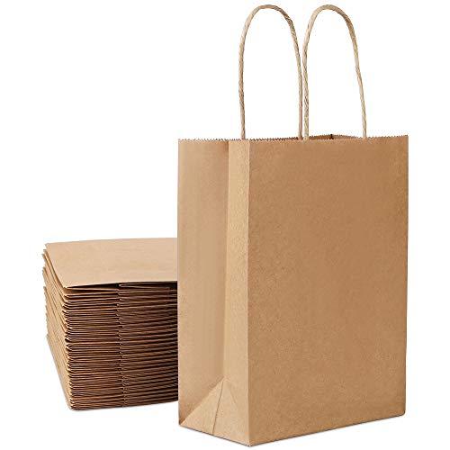 Papiertüten 30 Stück, Vegena Papiertüten mit Henkel Kraftpapier 15 x 8 x 21cm Papiertragetaschen kindergeburtstag für Gastgeschenke Hochzeit Basteln Ostertüten Brote Keks verpacken