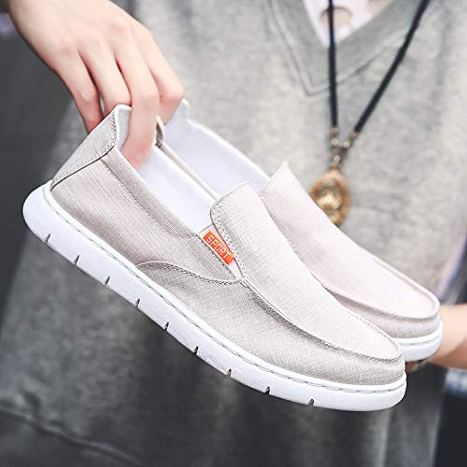 LOVDRAM Men'S shoes Season One Pedal Canvas shoes Men'S Fashion Casual Lazy Sets Of Feet Low To Help Casual shoes
