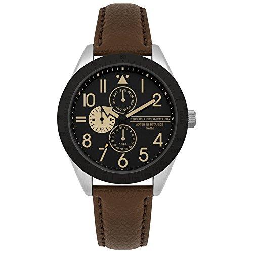 French Connection Herren Multi Zifferblatt Quarz Uhr mit Leder Armband FC1313T