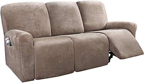 LINGKY 8-Pieces Recliner Sofa Covers Velvet Stretch Reclining Couch Covers for 3 Cushion Sofa Slipcovers Thick Soft Washable Furniture Covers with Elastic Bottom (Taupe)