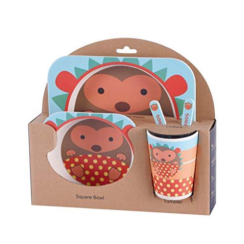 Lorsoul 5pcs / Set Vajilla Niños bebé tazón vajillas, Fibra de bambú Natural, Erizo, niño de la Copa Cuchara Tenedor