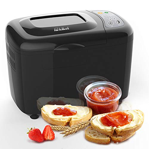 KIKET Smart 3.5 LB Bread Machine,2 Paddles Automatic Bread Maker with Homemade Function,18-in-1 Breadmaker with Nonstick Ceramic Pan, Recipes & Accessories Included, Black