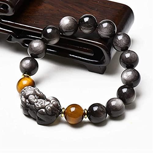 Pulsera de cuentas Feng shui amuleto pixiu piyao pulsera plateado brillo obsidiano stretch bangle talisman natural piedra preciosa...