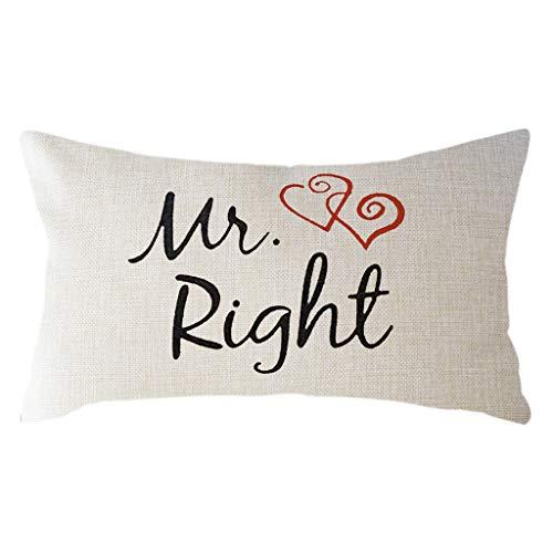 Yvelands Oreiller Saint Valentin Romantique Impression Taie d'oreiller en Lin Coussins Lombaires Coussins RelèVe Jambes 30×50Cm(B)