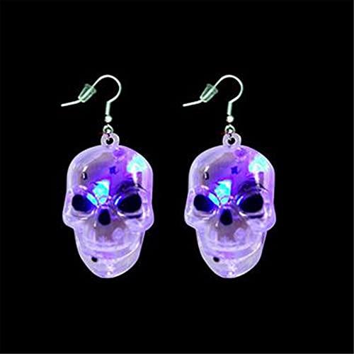 Pendientes de calavera con luz LED, Pendientes parpadeantes Pendientes góticos Decoración de Halloween, Pendientes de calavera colgantes Accesorios Rave, Joyas perforantes novedosas y brillantes