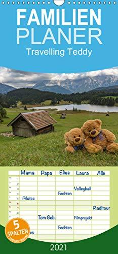 Travelling Teddy - Familienplaner hoch (Wandkalender 2021, 21 cm x 45 cm, hoch)