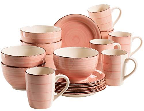 MÄSER 931494 Bel Tempo II Frühstück-Service für 6 Personen im Vintage Look, handbemalte Keramik, 18-teiliges Geschirr-Set, Rosa, Steingut