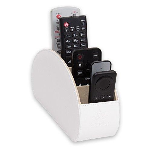 Homeze - Porta Telecomandi con 5 scomparti - Per contenere telecomandi di TV, stereo, decoder, DVD, Blu-Ray - in Ecopelle con fodera interna in suede (Bianca)