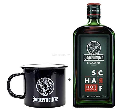 Jägermeister Kräuterlikör Hot Ginger Charakter No 1 Scharf 0,7l (33% Vol) + Jägermeister Mule Becher schwarz- [Enthält Sulfite]