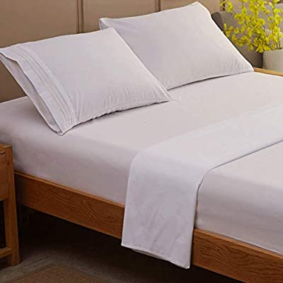SONORO KATE Bed Sheet Set Super Soft Microfiber 1800 Thread Count Luxury Egyptian Sheets Fit 18 - 24 Inch Deep Pocket Mattress Wrinkle and Hypoallergenic-4 Piece (White, Queen)