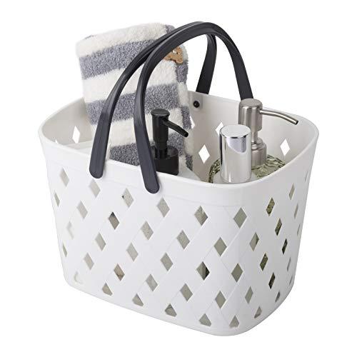 Cesta de almacenamiento con asas, pequeña cesta de plástico para la ducha, caja organizadora para baño, cocina, 30,5 x 22,5 x 18 cm, color blanco