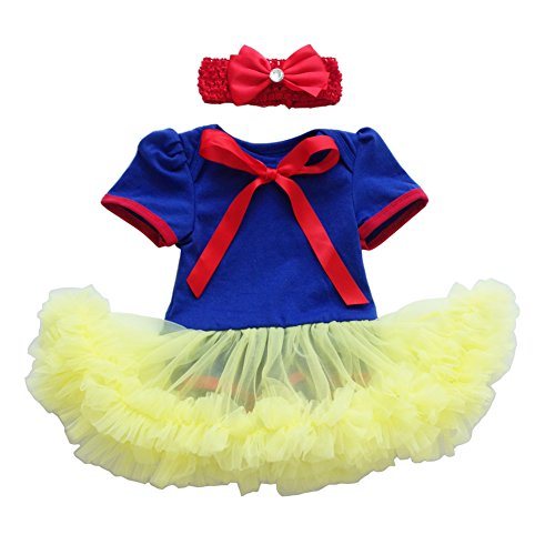 Newborn Baby Girls' Little Princess Snow White Costume Outfits Set 1st Halloween Cosplay Party Fairy Tale Fancy Dresses Up Birthday Bodysuit Romper Tutu Gown with Headband Role Play #B 6-12 Months