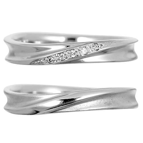 [ココカル]cococaru ペアリング 2本セット K18 ホワイトゴールド 結婚指輪 ダイヤモンド 日本製(レディースサイズ12号 メンズサイズ3号)
