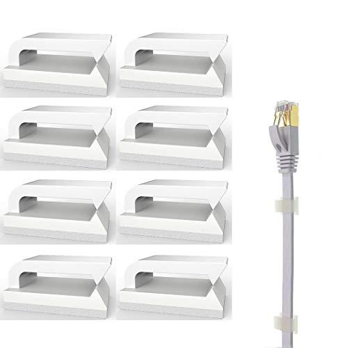 Selbstklebend Kabelclips (Weiß 100-Stück) Kabelhalter für Flachkabel Ethernet, Eiito Kabelbefestigung Drahthalter Kabelschellen Kabelklemme