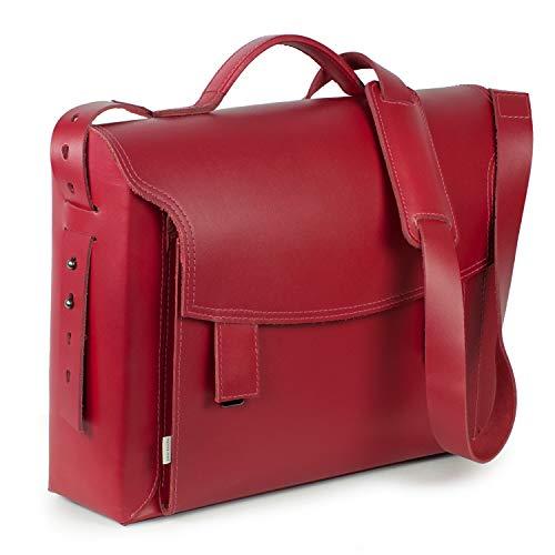 Luxus Aktentasche Lehrertasche für Damen Größe L aus Leder, helles Kirsch-Rot, Grau gefüttert, Jahn-Tasche 609