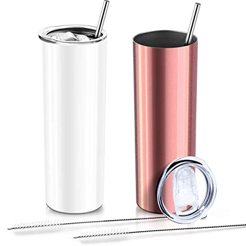 XccMe 2 Pack Stainless SteelSkinny Tumblers,20 oz Double WallSlimInsulated Tumbler with Lid and Straw, for Travel Mug, Coffee, Tea, Beverages (White+Rose Gold)