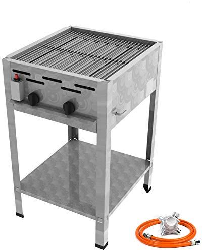 Stand Gastro Edelstahl Gasbräter 2 flammig 9,0 KW f. Propangas mit Grillrost + Untergestell + Gasschlauch, Gewerberegler + SBS (Standgerät Gastronomie Kocher - Wurstbräter, Gasgrill Bräter)