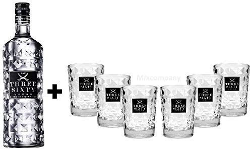 Three Sixty Set Geschenkset ? Three Sixty Vodka Wodka 1L 1000ml (37,5% Vol) + 6x Tumbler 0,2l 200ml Facettenschliff Glas- [Enthält Sulfite]