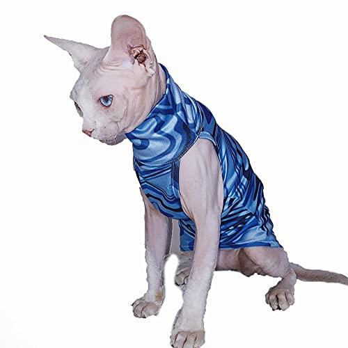 NELIT Gato sin Pelo Camiseta Algodón Ondulado Protector Solar Sphynx Cat Clothes-Blue Vest_L