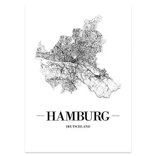 JUNIWORDS Stadtposter - Wähle Deine Stadt - Hamburg - 21 x 30 cm Poster - Schrift A - Weiß