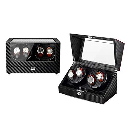 Caja Giratoria Relojes Watch Winder Automático Watch Winder 4 + 0 Luxury Watch Caja de presentación Caja de almacenamiento Piano Paint, Motor silencioso, 5 modos de rotación, lámpara LED de ambiente,