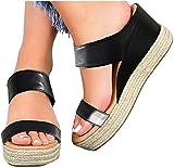 QAZW Sandalias de Tacón de Cuña para Mujer, Zapatos con Punta Abierta, Sandalias de Plataforma Gruesa, Cuñas Deslizantes, Zapatos Altos,Black-43