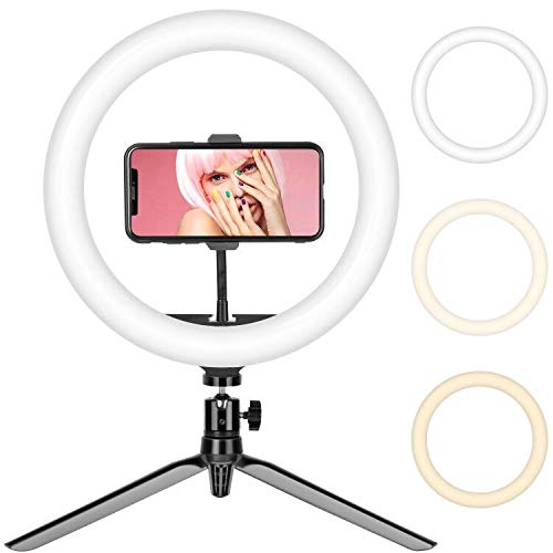 Selfie Ring Light, 10' Video Ring Light, Dimmable LED with Adjustable Tripod & Phone Holder for Selfie Vlog Tik Tok Youtube Live Streaming
