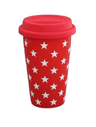 Krasilnikoff Mug isotherme Motif étoiles Rouge