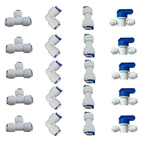 """1/4"""" OD Quick Connect Push in to Connect for RO Water Reverse Osmosis System Water Tube Fitting Set of 20 (Ball Valve+T+I+L Type Combo)"""