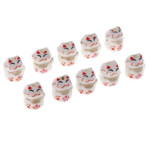 kowaku 10pcs Cute Ceramic Lucky Cat Beads Maneki Neko Porcelain Spacer Beads Charms - Multi, 12x14mm