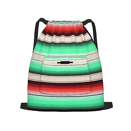 BohoMonos Mochila deportiva con cordón,Verde azulado, naranja y turquesa, manta del, Gym Sackpack para Hombres Mujeres Niños Yoga Travel Camping String Bag.