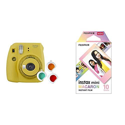 Fujifilm instax Mini 9 Kamera mit Farblinsen, gelb & Mini Frame WW1 Macaron, Bunt