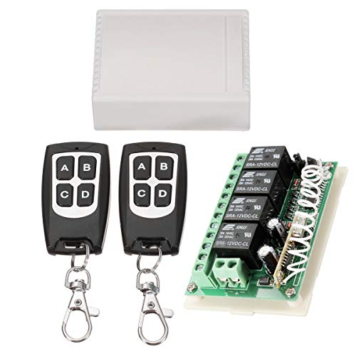 INSMA 433Mhz Wireless RF Switch Long Range DC 12V 4CH Channel Wireless Remote Control Switch, DC12V Relay Receiver Module, Transmitter Toggle Switch RF Relay (2 Transmitter & 1 Receiver)
