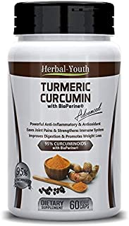Turmeric Curcumin with Bioperine - Includes 95% Curcuminoids, Max Potency, Anti-inflammatory, Joint Pain Relief and Antiag...