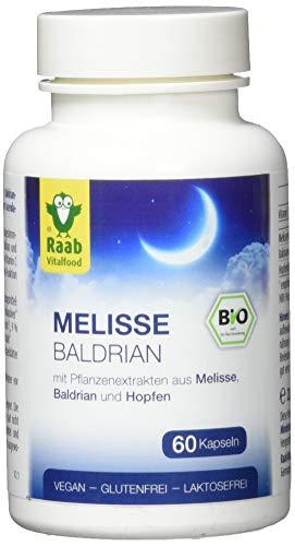 Raab Vitalfood Bio Melisse Baldrian mit Extrakt aus Hopfen, vegan, glutenfrei, natürliches Vitamin C, laborgeprüft, 28.8 grams