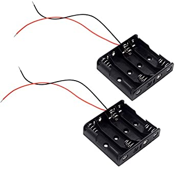 LAMPVPATH  Pack of 2  4 AA Battery Holder 4 AA Battery Holder with Leads 4 AA Battery Holder with Wires