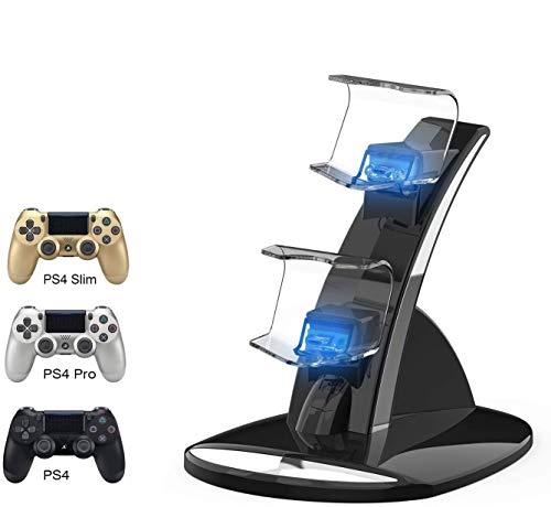 ICQUANZX Stazione di Ricarica per Controller PS4, Caricabatterie per Controller PS4 per Controller Sony Playstation 4 PS4 / PS4 PRO / PS4 Slim