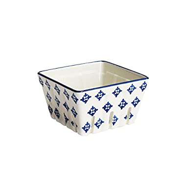 American Atelier Stamp Square ceramic Berry Basket, Blue