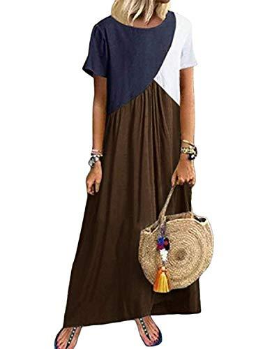 YOINS Maxikleider Damen Kurzarm Farbeblock Sommerkleid Kaftan Maxikleid Strandkleid Lang Damenkleider Bodenlanges Kleid Jersey Kleider Kaffee S