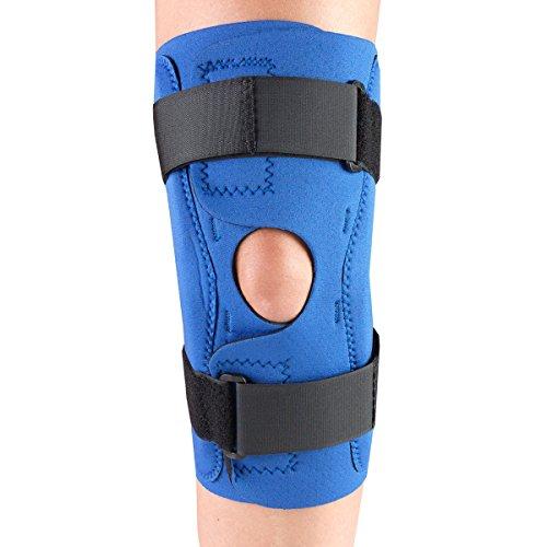 OTC Knee Stabilizer Wrap, Hinged Bars, Neoprene, Blue, Medium