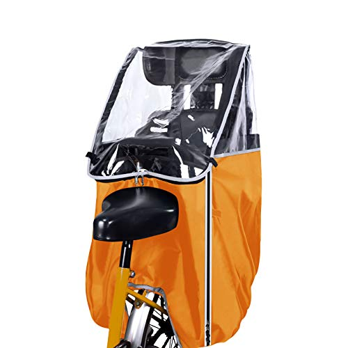 Rosefray 自転車レインカバー 子供乗せ自転車 チャイルドシートレインカバー 後ろ 前開ける 撥水加工 後方全開ファスナー付き 雨除け 寒さ対策 風防 雨が染み込む対策-S-Orange