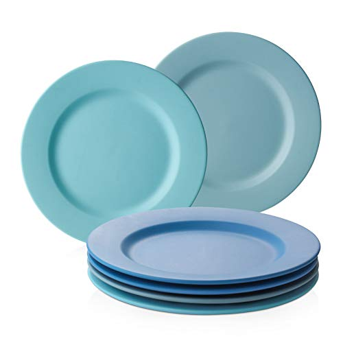 DOWAN Salad Plates Ceramic, 8 Inches Small Dinner Plates Set of 6, Matte Blue Salad Serving Plates, Microwave and Dishwasher Safe