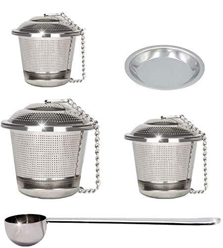 JEZOMONY Infuseur à thé en Feuilles, Ensemble de 3 avec cuillère à thé et Plateau d'égouttement, crépines et vases réutilisables en Acier Inoxydable de qualité supérieure pour Les thés en Feuilles